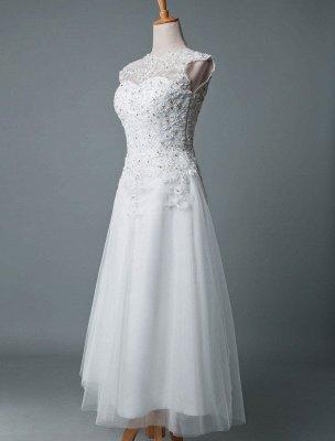 Robe de mariée vintage thé longueur bijou cou sans manches une ligne taille naturelle Tulle courte robe de mariée exclusive_2