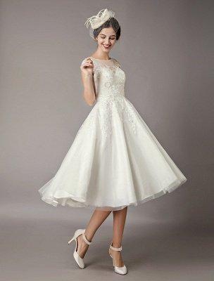 Vintage Wedding Dresses Short Lace Tulle Sequin Tea Length Ivory Bridal Dress_4