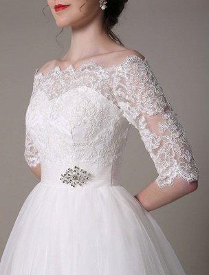 Robes de mariée en dentelle 2021 courtes sur l'épaule une ligne longueur au genou taille strass robe de mariée exclusive_9