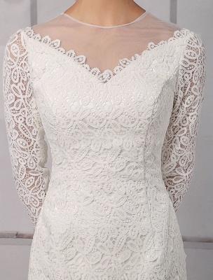 Einfache Brautkleider 2021 Kurze Langarm Illusion Ausschnitt Koyhole Knielangen Mantel Brautkleid Exklusiv_7