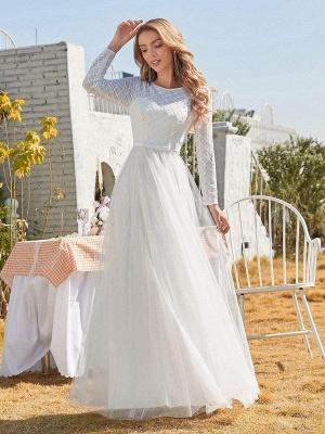 Vestido de novia blanco simple Cuello joya Mangas largas Cintura natural Una línea de tul Vestidos de novia largos_2