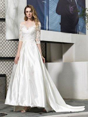 Simple Wedding Dress Jewel Neck Half Sleeves A Line Beaded Bridal Dresses With Train_4