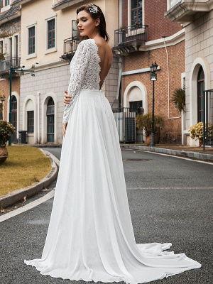Simple Wedding Dress Chiffon V Neck Long Sleeves Lace A Line Bridal Dresses With Train_3