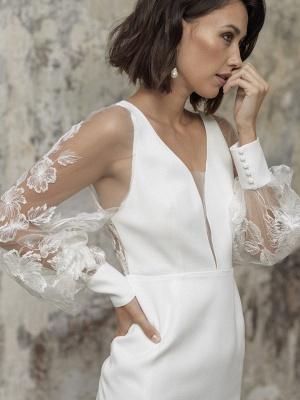 White Short Wedding Dresses V-Neck Long Sleeves Backless Sheath Cut-Outs Lace Bridal Dresses_4
