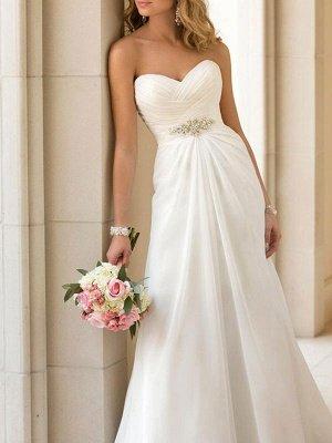 Simple Wedding Dress Sheath Sweetheart Neck Sleeveless Pleated Bridal Dresses With Train_1