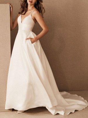 Einfaches Hochzeitskleid Satin V-Ausschnitt Ärmellose Taschen A-Linie Brautkleider_3