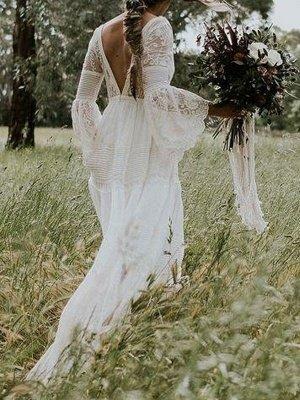 Boho Brautkleider 2021 A Line tiefer V-Ausschnitt Multilayer Lace Chiffon Beach Party Dress Brautkleider_2