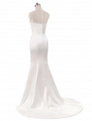 Vestidos de novia de color marfil Vestidos de noche de sirena sin tirantes Vestido de novia de playa dividido sin mangas con cuello en V y cola_3
