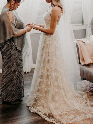 Wedding Dress Court Train A-Line Spaghetti Straps Sleeveless Lace V-Neck Backless Ivory Bridal Gowns_2