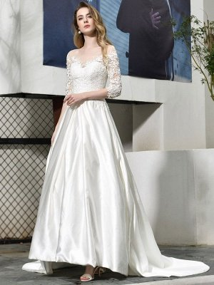 Simple Wedding Dress Jewel Neck Half Sleeves A Line Beaded Bridal Dresses With Train_2