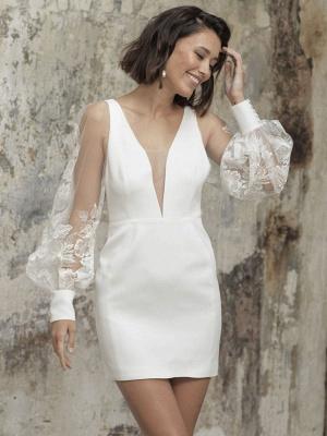 White Short Wedding Dresses V-Neck Long Sleeves Backless Sheath Cut-Outs Lace Bridal Dresses_1