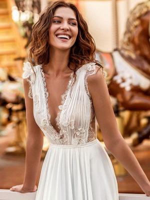 Vestido de novia blanco simple Una línea de tren de la corte Escote en V Cintura natural Sin mangas Gasa Encaje Vestidos de novia_4