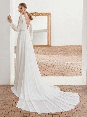 Einfaches Brautkleid mit Zug Chiffon Neckholder lange Ärmel Spitze A-Linie Brautkleider_2
