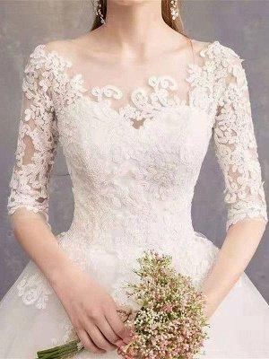 Brautkleider Eric White Jewel Neck Half-Sleeve Soft Tüll Lace Up Bodenlangen Brautkleider_6