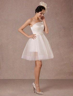 Short Wedding Dress Organza One-Shoulder A-Line Backless Satin Mini Summer Wedding Dresses 2021_2