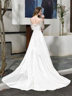 Simple Wedding Dress Jewel Neck Half Sleeves A Line Beaded Bridal Dresses With Train_9