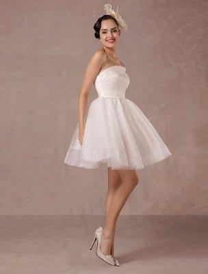 Short Wedding Dress Organza One-Shoulder A-Line Backless Satin Mini Summer Wedding Dresses 2021_5