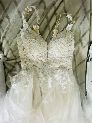 Wedding Dresses A Line V Neck Sleeveless Lace Appliqued Bridal Gowns With Train_7