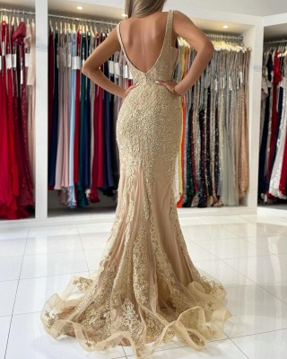 Stunning V-Neck Sleeveless Slim Mermaid Evening Gown Floral Lace_5