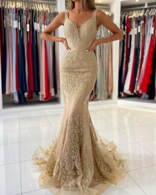 Stunning V-Neck Sleeveless Slim Mermaid Evening Gown Floral Lace_4
