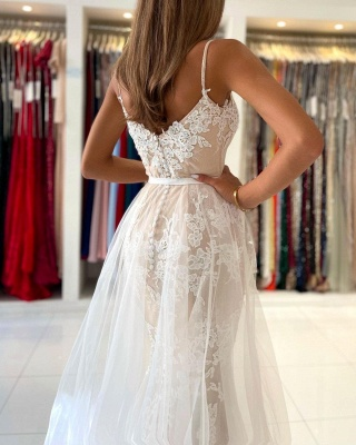 Charming Spaghetti Straps Lace Mermaid Evening Maxi Dress Sweetheart Prom Dress with Detachable Tulle Train_6