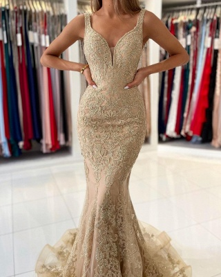 Stunning V-Neck Sleeveless Slim Mermaid Evening Gown Floral Lace_3