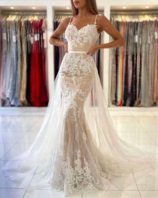 Charming Spaghetti Straps Lace Mermaid Evening Maxi Dress Sweetheart Prom Dress with Detachable Tulle Train_3