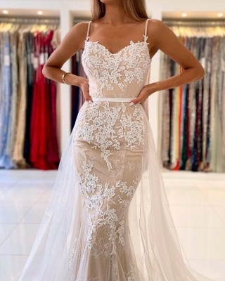 Charming Spaghetti Straps Lace Mermaid Evening Maxi Dress Sweetheart Prom Dress with Detachable Tulle Train_5