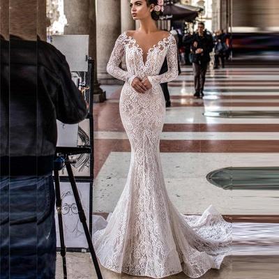 Precioso vestido de novia de sirena de encaje floral blanco / marfil Vestido de novia delgado romántico de manga larga_2