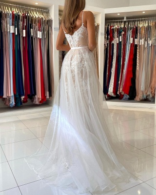 Charming Spaghetti Straps Lace Mermaid Evening Maxi Dress Sweetheart Prom Dress with Detachable Tulle Train_2