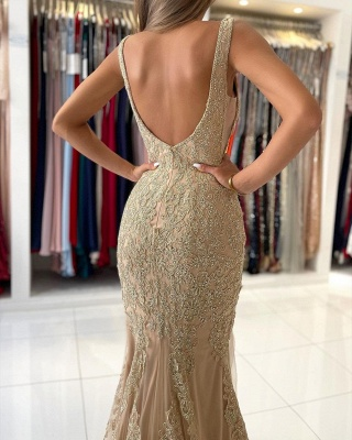 Stunning V-Neck Sleeveless Slim Mermaid Evening Gown Floral Lace_6