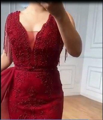Charmante Quaste Ärmel Meerjungfrau Abendkleid Glitzer Perlen Spitze Applikationen Partykleid_4