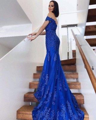 Elegant Off  Shoulder Mermaid Evening Gown Tulle Lace Appliques Long Formal Dress_2