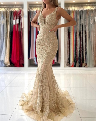Stunning V-Neck Sleeveless Slim Mermaid Evening Gown Floral Lace_2