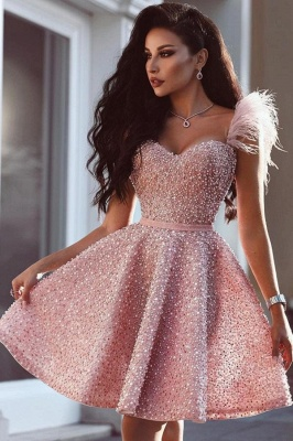 Shinny Sequins Beading Homecoming Dress Pearls Feather Pink Party Dress