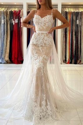 Charming Spaghetti Straps Lace Mermaid Evening Maxi Dress Sweetheart Prom Dress with Detachable Tulle Train