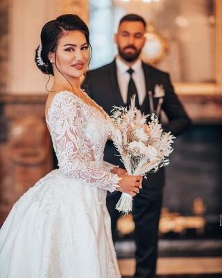 Elegantes weißes Brautkleid mit langen Ärmeln Blumenspitze Meerjungfrau Brautkleid mit abnehmbarem Zug_4