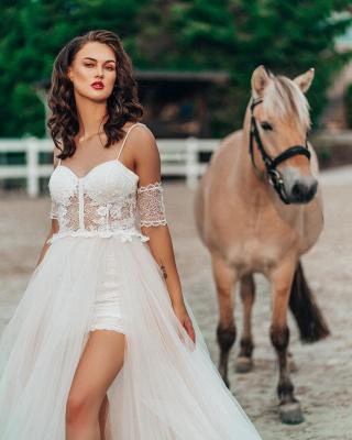 Boho Spaghetti Straps Tulle Wedding Dress with Side Split_2