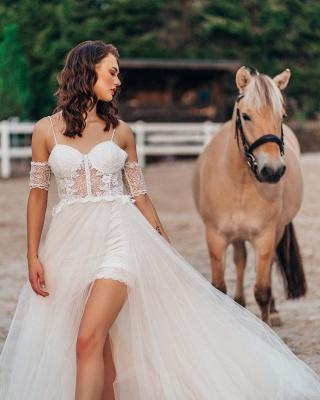 Boho Spaghetti Straps Tulle Wedding Dress with Side Split_3