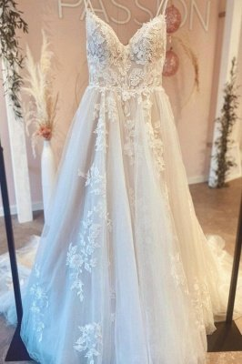 Simple Spaghetti Straps A-line Wedding Dress White Tulle Lace Appliques Bridal Dress_2