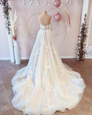 Simple Spaghetti Straps A-line Wedding Dress White Tulle Lace Appliques Bridal Dress_4
