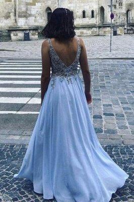 Stilvolles V-Ausschnitt A-Linie Abendkleid 3D Spitze Ärmelloses Chiffon Abendkleid Bodenlang_2