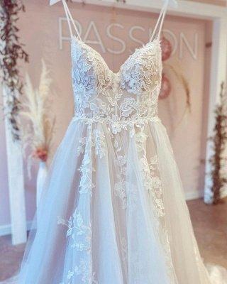 Simple Spaghetti Straps A-line Wedding Dress White Tulle Lace Appliques Bridal Dress_3