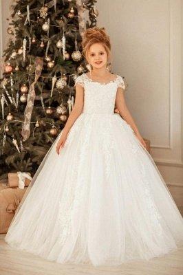 Flügelärmeln Spitze Kleid für kleine Mädchen Weihnachtsfeier Weißes Prinzessinnenkleid