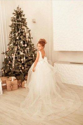 Jewel Neck Weiß Glitzer Pailletten Hochzeitsfest Kleid für Mädchen Ärmelloses Weihnachtskleid