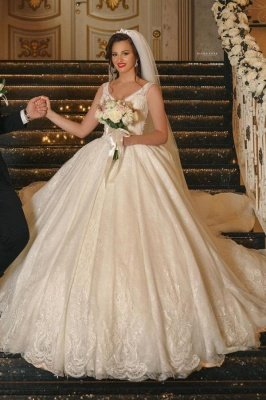 Romantic Sleeveless V-Neck Aline Ball Gown White Floral Lace Wedding Dress Chapel Train