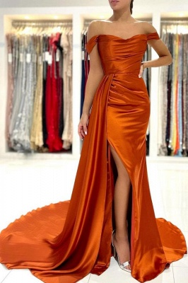 Charming Off-the-Shoulder  Orange Mermaid Evening Dress