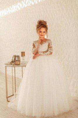 Schöne lange Ärmel Tüll Blumenmädchenkleid Aline Partykleid für die Braut