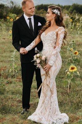 Gorgeous White Long Sleeves Mermaid Bridal Dress Floral Lace Garden Wedding Dress