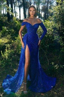Sparkly Sequins Off Shoulder Long  Sleeves Royal Blue Evening Prom Dress